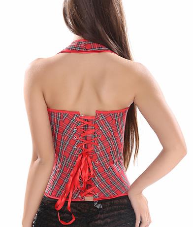Sexy-Women-s-Red-Plaid-Overbust-Straps-Corset-Waist-Cincher-Outwear-Halter-Bustier-with-G-string-2.jpg